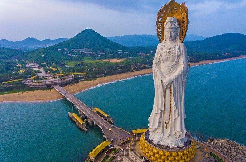 Гуаньинь, 78 м. Хайнань, Китай. Статуя построена в 2005 году в мире, высота, красота, люди, памятник, подборка, статуя, факты