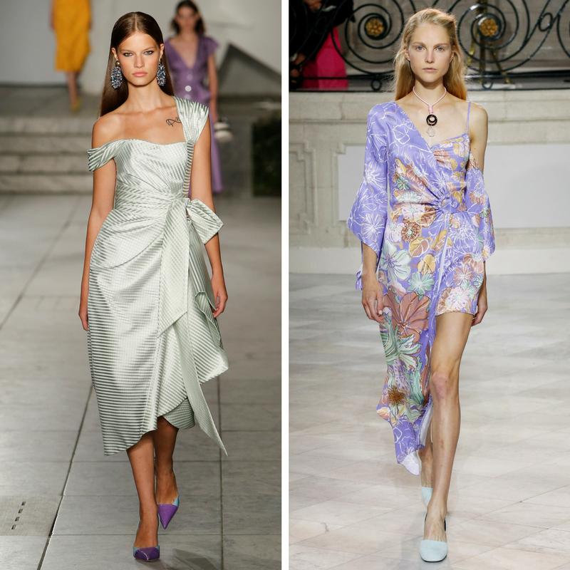 Модели в асимметричных платьях