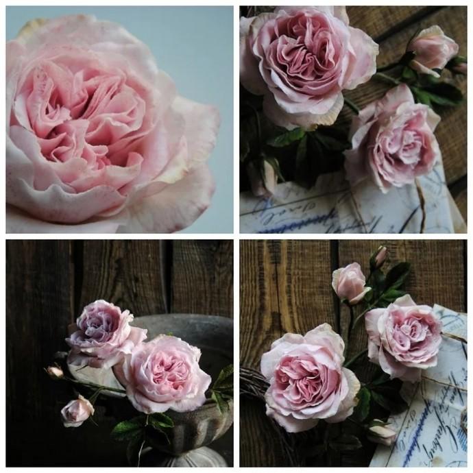 Винтажная английская роза из холодного фарфора