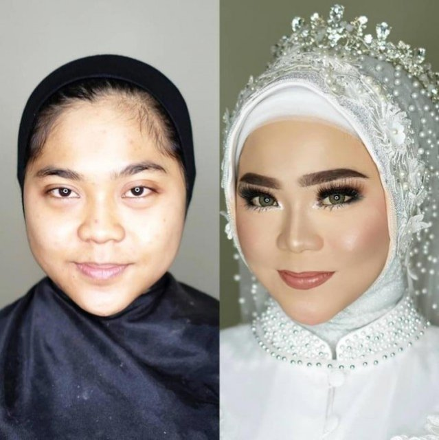 Индонезийские невесты до и после нанесения макияжа Индонезия