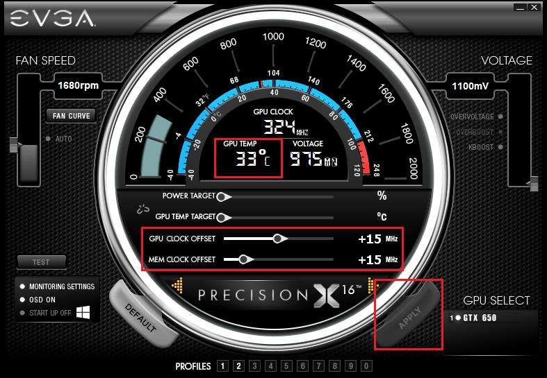 Подъем частоты ядра ГП и памяти.