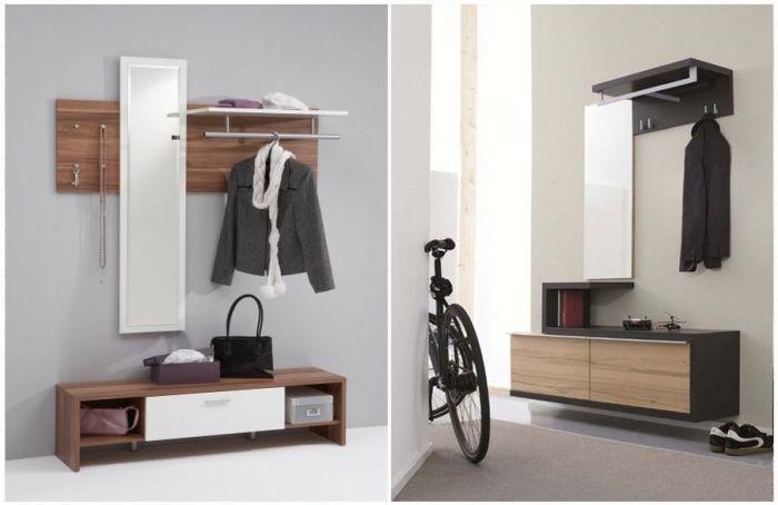 Полки и шкафчики для маленькой прихожей. \ Фото: pinterest.com.