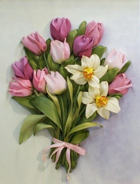 Вышиваем лентами тюльпаны вышивка лентами,рукоделие,своими руками,сделай сам