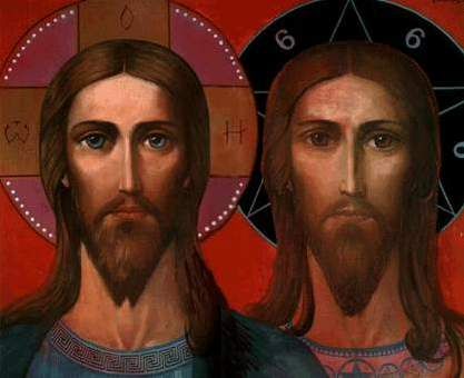 Картина И. Глазунова Христос и Антихрист