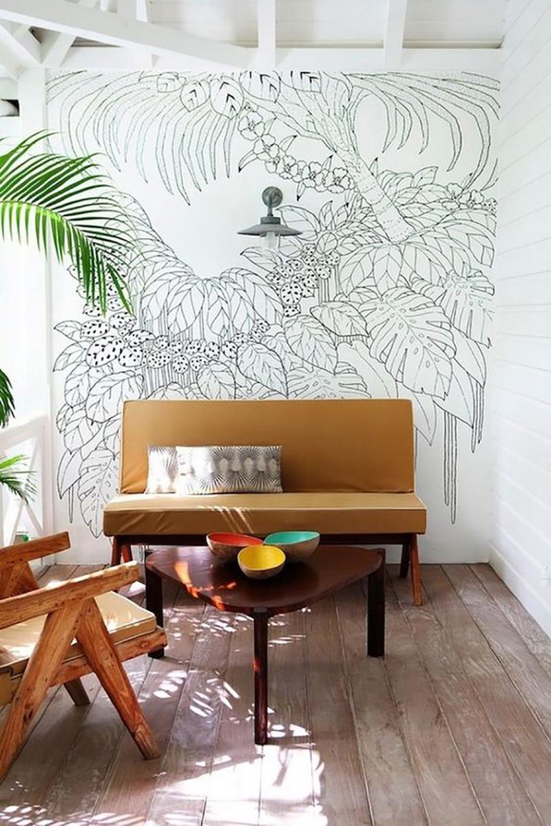 роспись стен в интерьере кухни