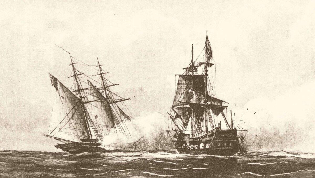 """Бой между американским фрегатом """"Энтерпрайз"""" и пиратским кораблем (источник изображения - ekabu.ru)"""