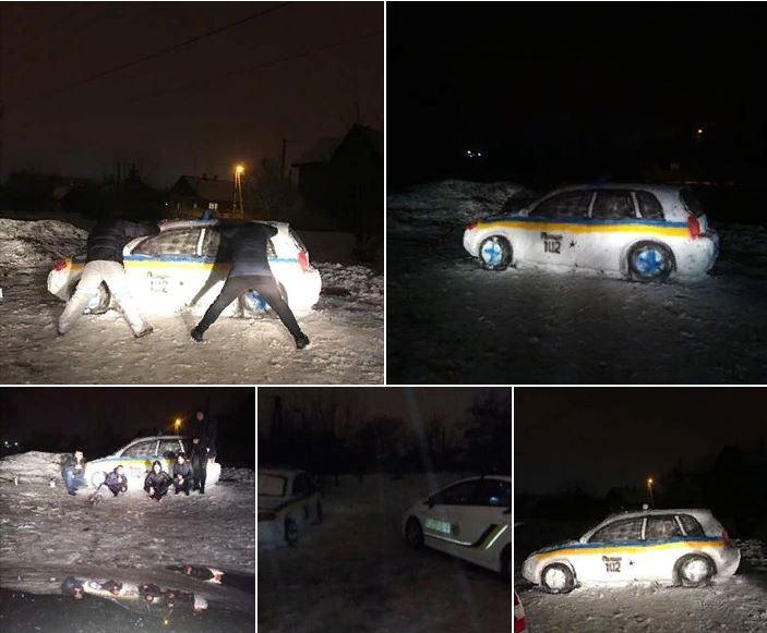 В Днепре из снега слепили патрульный автомобиль. На место вызвали настоящую полицию Марки и модели,юмор