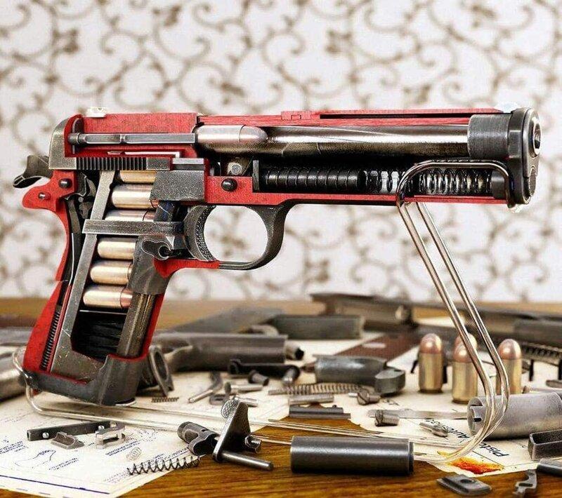 5. Внутренности пистолета как на ладони вещи, внутри, изнутри, подборка, разрез, фото