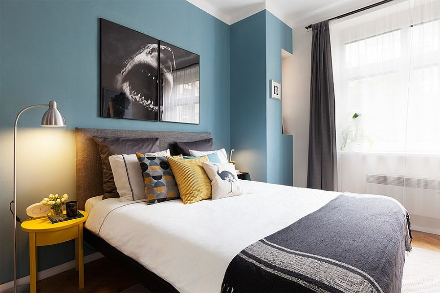 modern-bedroom-in-blue-and-white-with-pops-of-yellow