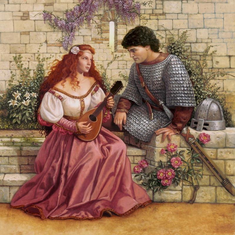 Открытка рыцарь и принцесса