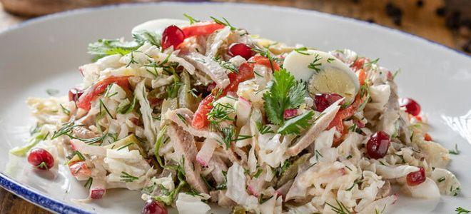 вкусный салат с языком