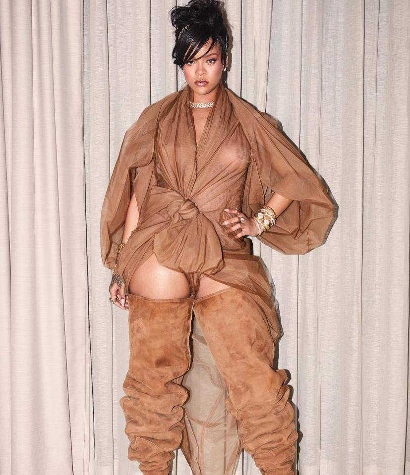 Rihanna has gone all out for her Coachella wardrobe this year, rocking a huge pair of suede boots with an equally eye-catching sheer dress