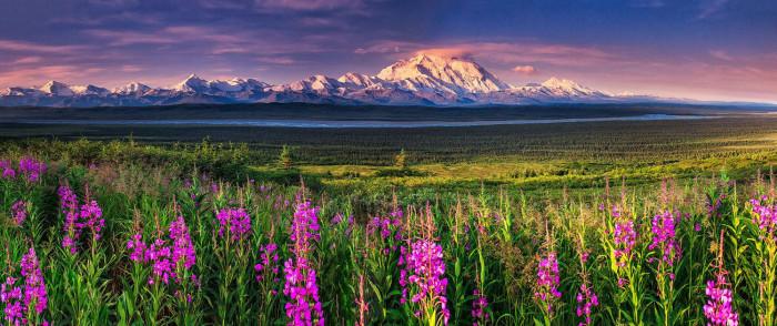 Двуглавая гора на юге центральной части Аляски, высочайшая гора Северной Америки. Высота горы - 6190 метров.