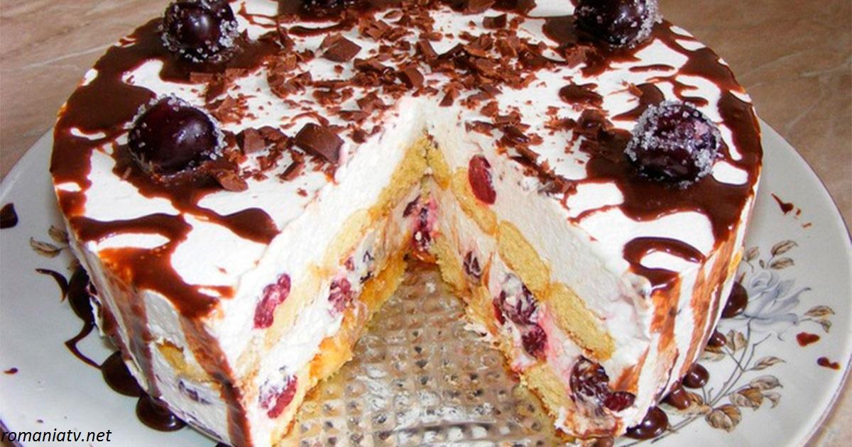 Торт из печенья с вишнями: простой, вкусный - и без выпечки!