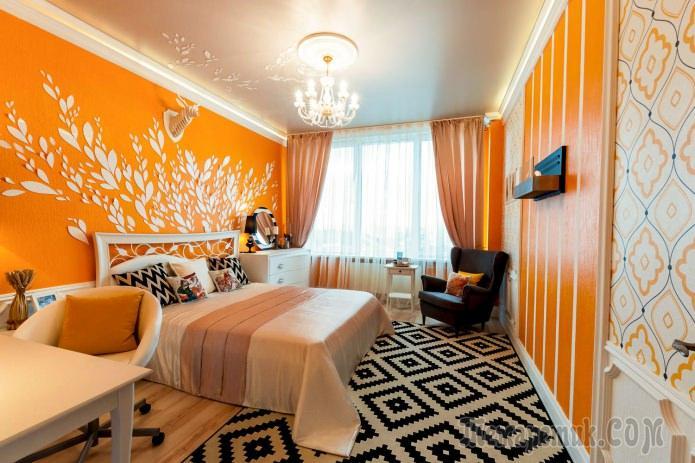 Дизайн спальни в оранжевых т…