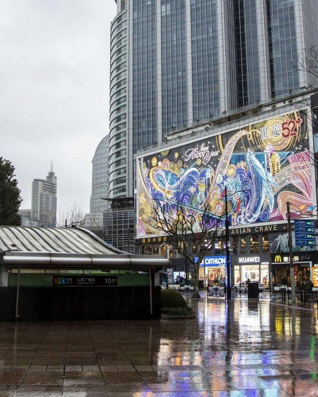 Некогда многолюдный и шумный Шанхай сегодня жизнь,общество,Шанхай,эпидемия