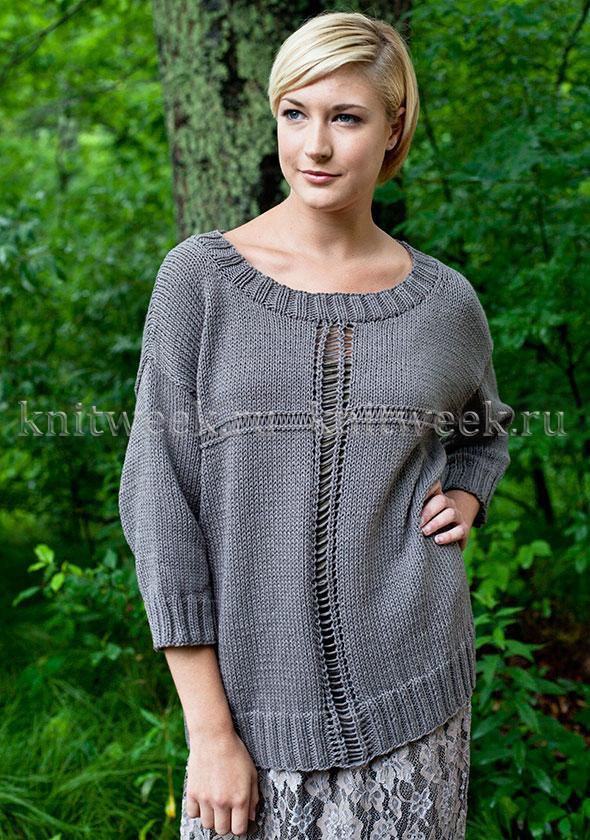 Простой и стильный пуловер спицами (большие размеры)