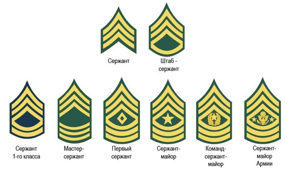 Сержантские звания США. Собственно, от сержанта до Сержант-майора армии.
