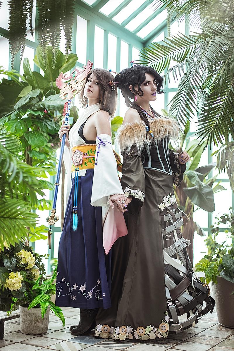 Final Fantasy X: Прекрасный косплей на Юну  и Лулу  Игры,косплей
