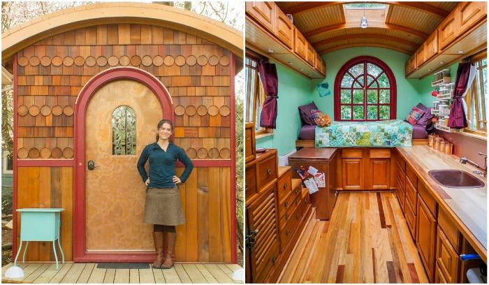Девушка самостоятельно придумала и построила микро-дом площадью всего 9,3 кв. метров
