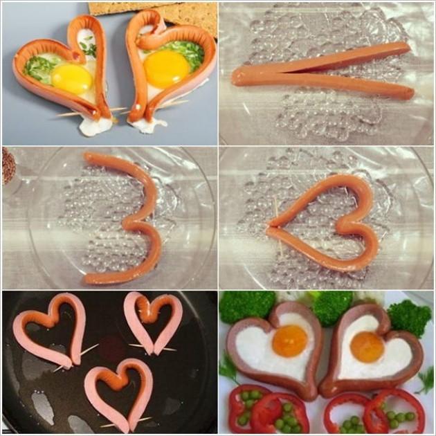 Романтический завтрак для двоих с сосисками и яичницей-глазуньей. еда, своими руками, сделай сам