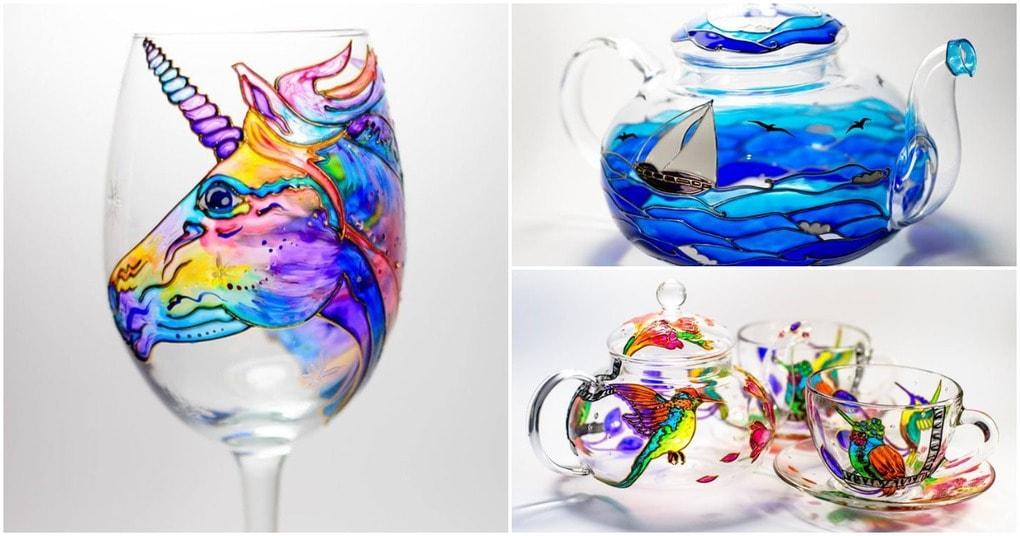 Художница превращает обычную посуду в произведения искусства