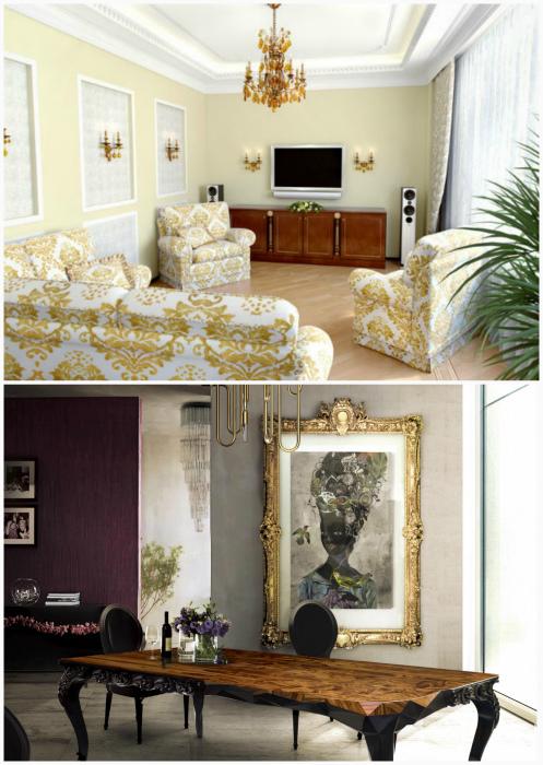 Богатые интерьеры в стиле барокко и ар-деко.