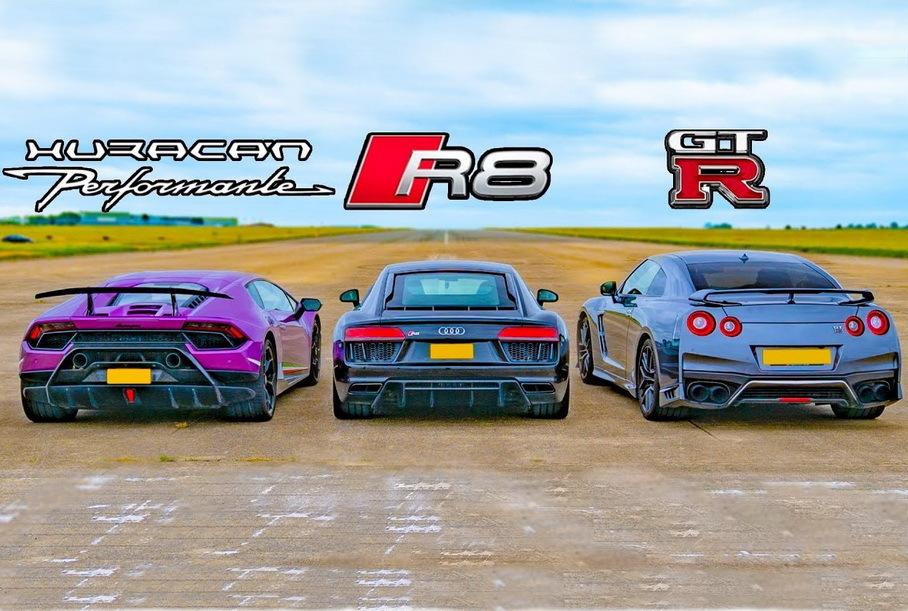 Дрэг-гонка: Audi R8 и Lamborghini Huracan против Nissan GT-R Новости