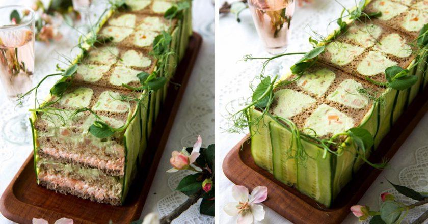Бутербродный торт с рыбой: необычная палитра вкуса