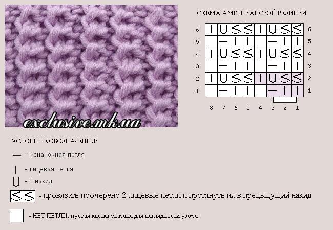 французская резинка спицами схема вязания фото