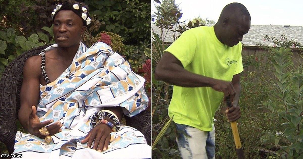 Король африканÑкого племени работает Ñадовником в Канаде, чтобы прокормить Ñвой народ