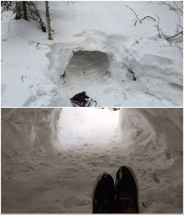 Самый быстрый способ обзавестись жильем – сделать иглу в большом сугробе снега.   Фото: nepropadu.ru/ drive2.ru.