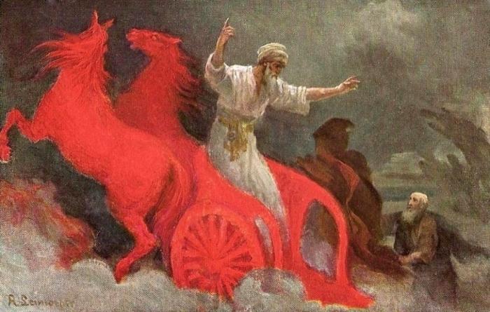 Изображение Пророка Илии на огненной колеснице./Фото: zovut.com