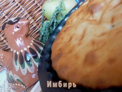 Шарлотка с курицей и яблоками