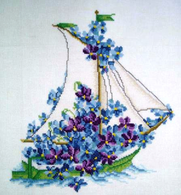 """Схема вышивки крестом """"Цветочный кораблик"""""""