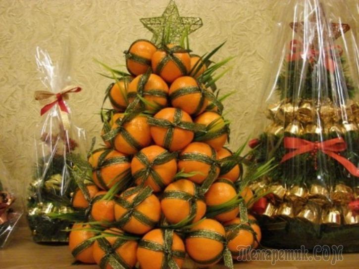 Елка из мандарин: мастер-класс