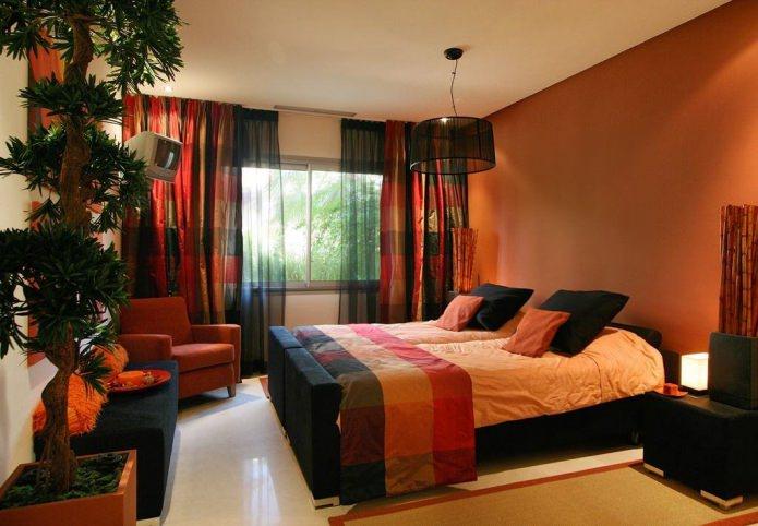 черно-оранжевый интерьер