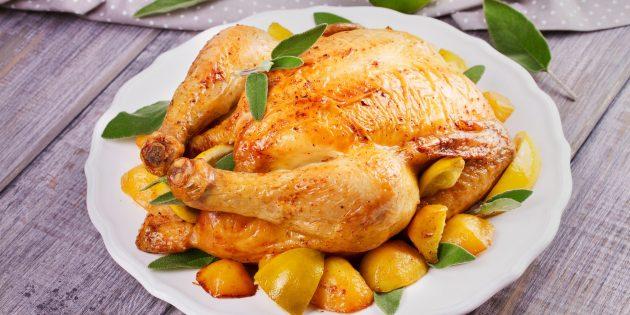 Чем фаршировать курицу: фаршированная курица с лимоном и апельсином