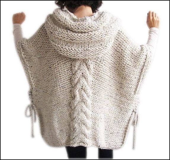 Шикарное пончо с капюшоном вязание,мода,одежда