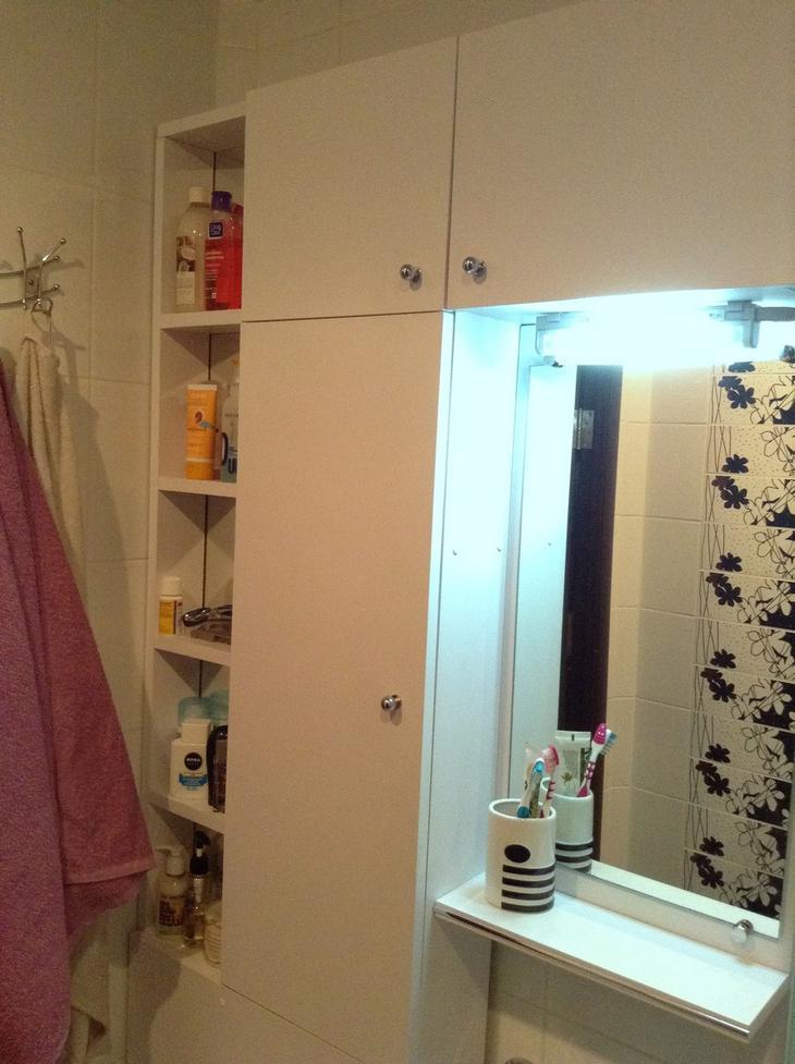 Компактный санузел с множеством мест для хранения идеи для дома,интерьер и дизайн