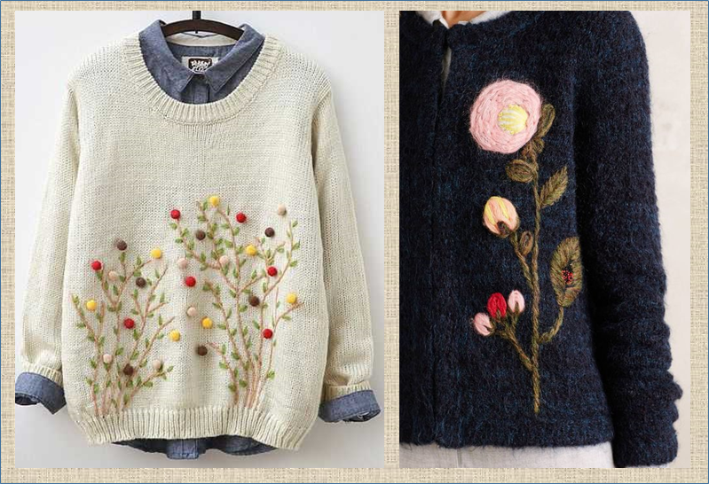 А давайте украсим свои кофточки и свитера весенними цветами - примеры и способы вышивки по вязанному полотну