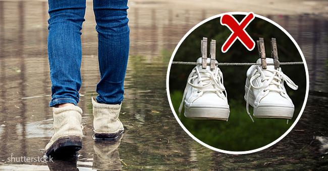 Мокрая обувь после дождя? Не паникуйте, просто возьмите газету.