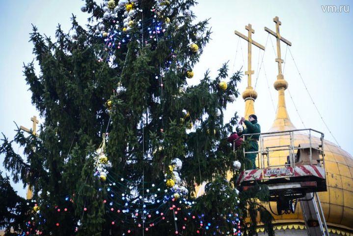 Главная новогодняя елка страны доставлена на Соборную площадь Кремля