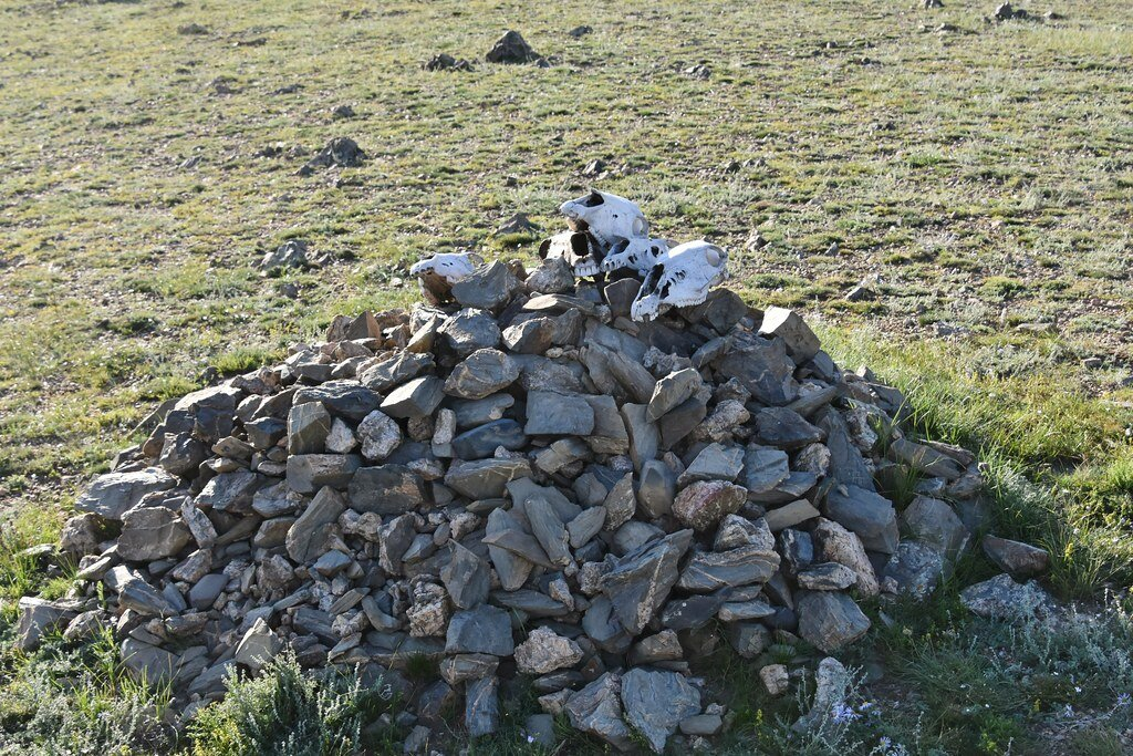 Sacred strone cairn, Orkhon Valley