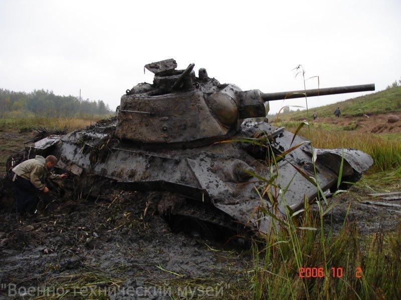 Танк, свыше 60 лет лежавший в болоте, стал экспонатом музея в Подмосковье Военно-технический музей, ОТ-34-76, танк