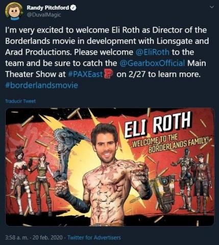 Автор Borderlands случайно анонсировал экранизацию игры. Её снимет режиссёр «Хостела» Игры,кино и тв,слухи