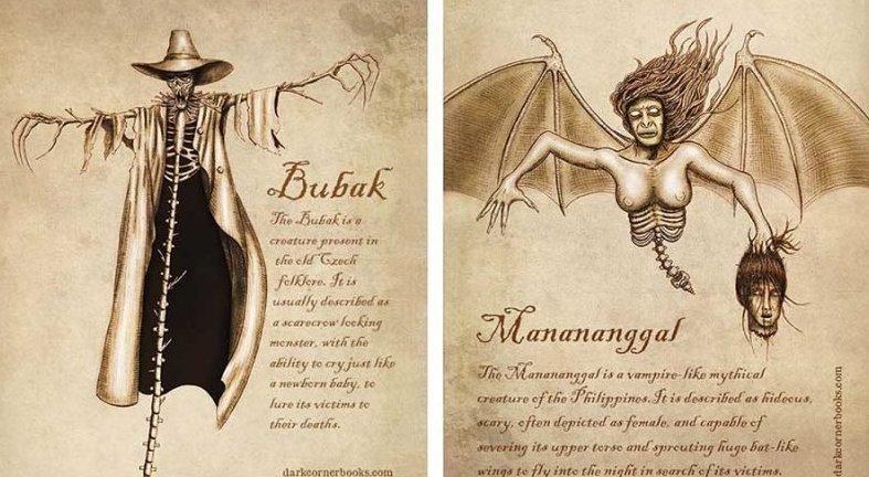 Мифические существа, о которых вы вряд ли когда-нибудь слышали жуть, иллюстрация, мифические существа, рисунок