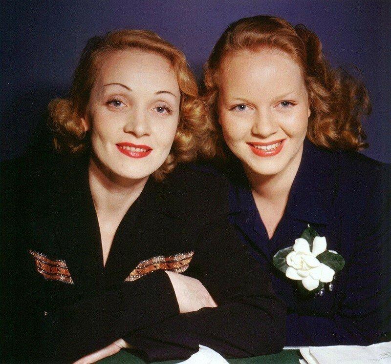Марлен Дитрих и её дочь Мария, 1940-е. история, ретро, фото