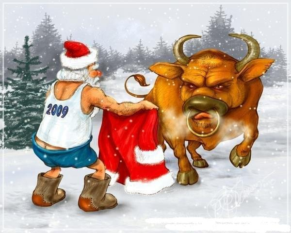 Новогодние быки картинки