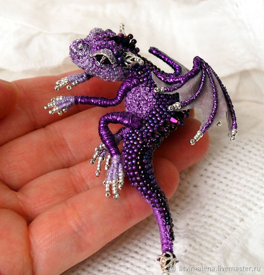 Brooches handmade. Livemaster - handmade. Buy Brooch dragon 'Princess Violetta'. Brooch beads. Royal Purple.Dragon